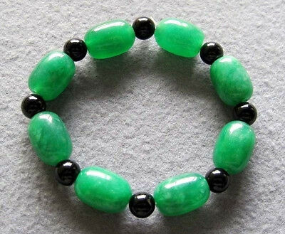 Oval Green Jade Tibet Buddhist Prayer Beads Mala Bracelet Happy Meaning Emotion