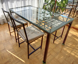 Glass-top Metallic Dining Table with 4 Chairs