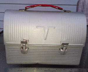 Vintage ALUMINUM Thermos Brand V Metal Dome Silver Lunchbox WOW