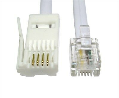2m RJ11 to BT Cable Lead Modem FAX Telephone Phone Plug BT Socket 4 Pin Straight
