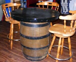 WHISKEY BARREL TABLE WITH 3 BAR STOOLS