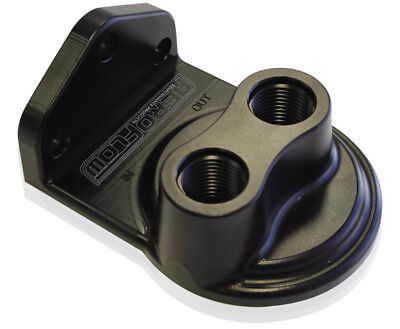 Aeroflow Billet Remote Oil Filter Head -8 ORB Top entry, Black anodised finish