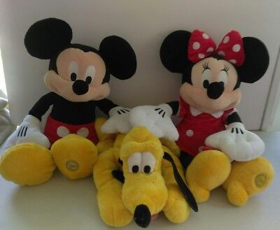 Disney Store Authentic Mickey Minnie Mouse Pluto Classic Large Plush Stuffed Lot