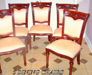 Dining Chairs 5 wood, red mahogany solid stain, padded seat/back