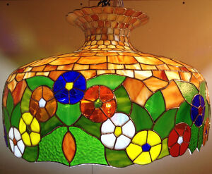 Tiffany styled stained glass ceiling lamp