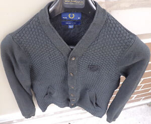 Men FRED PERRY 100% Merino Wool Jacquard Knit Button Up Cardigan