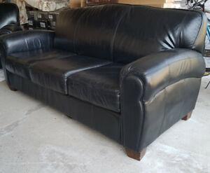 High quality Black Leather Sofa Set: 3 Pieces