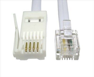 5m RJ11 to BT Cable Lead Modem FAX Telephone Phone Plug BT Socket 4 Pin Straight
