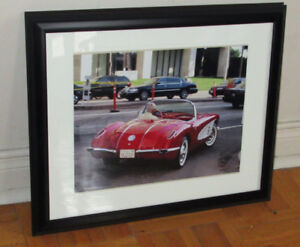 CADRE PHOTO ORIG. 1958 CORVETTE IN LOS ANGELAS IN 2006 FRAMED