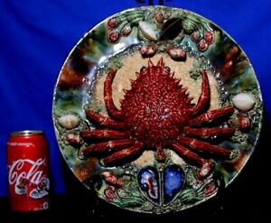 "Palissy Majolica Circa 19th C.  12 "" Crab Plate-Mint Condition"