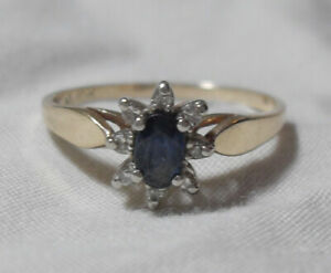10kt yellow Gold Diamond & Blue Sapphire  Engagement Ring