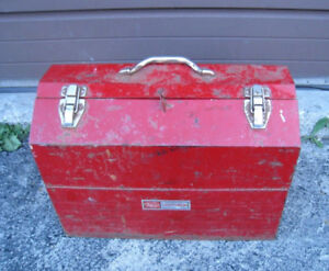 Old used red Mastercraft  Metal Toolbox with insertions