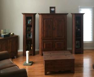 Armoire de salon, 2 colonnes, coffre rangement+meuble boissons