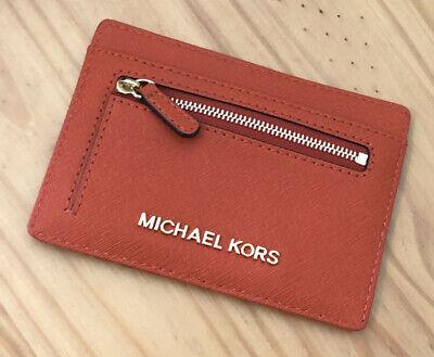 Michael Kors Jet Set Travel Orange Saffiano Leather Flat Large Card Holder