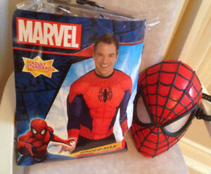 ADULT SPIDER-MAN MUSCLE SHIRT COSTUME + Light up Mask