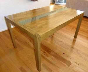 Light Oak dining table with glass feature panel Erskine Mandurah Area Preview