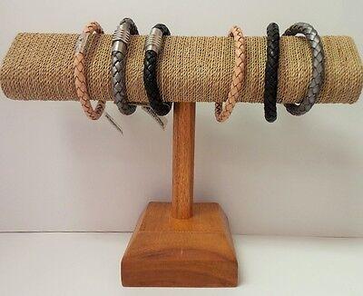 Oval Shape T Bar Sea Grass Wood Bracelet Display