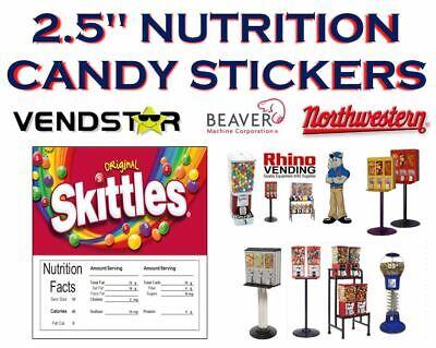 2.5 X 2.5 Bulk Vending Label Candy Machine Sticker Gumball Skittles