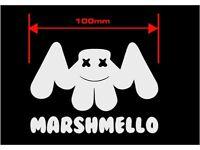 Marshmello face multi-coloured printedvinyl decal sticker 50mm wide