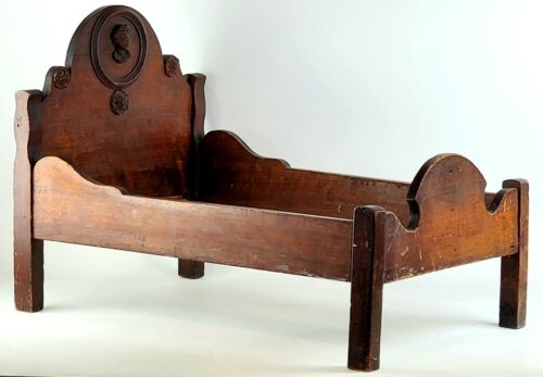 Antique Wood Doll Bed Rosette Face Cartouche Very Old Dowel Constructed Wooden