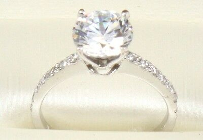 2.30TCW ROUND Brilliant Cut 14k Solid White Gold engagement & Wedding Ring