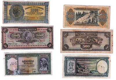 Griechenland 3 versch. Banknoten aus der Zeit 1932,1939,1941 stark gebraucht