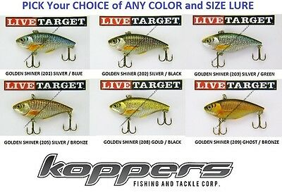 Koppers Live Target Lipless Rattle Trap Crankbait Any Gs Shiner Bait Color Size