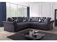 - ITALIAN STYLE / SHANNON CORNER SOFA - HIGH QUALITY FABRIC 3+2 SOFA SETS - ( SAME DAY DELIVERY ) -