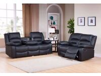 BRAND NEW BOXED PU LEATHER RECLINER 3 AND 2 SEATER SOFA SETS BLACK BROWN RED CORNERS WITH CUPHOLDER