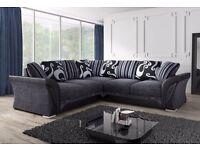 NEW DFS sofa fabric CORNER/3+2 SOFA/CUDDLE CHAIR plus FREE storage POUFFE and chrome feet