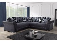 NEW DFS sofa fabric CORNER/3+2 SOFA/CUDDLE CHAIR plus FREE storage POUFFE and chrome feet