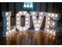 STUNNING GIANT LOVE LETTER PROP HIRE FOR WEDDINGS, ESSEX, SUFFOLK, NORFOLK, LONDON, HERTFORDSHIRE.