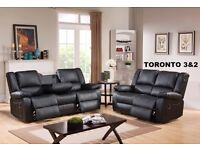 TIFFANY 3 AND 2 SEATER BONDED LEATHER RECLINER SOFA SET WITH DRINK HOLDER