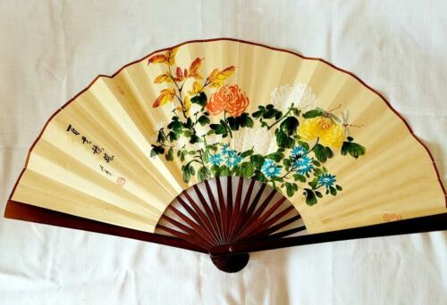 """Vintage  Asian Hand Painted Bamboo Flowers Art Fan20×37"""""""
