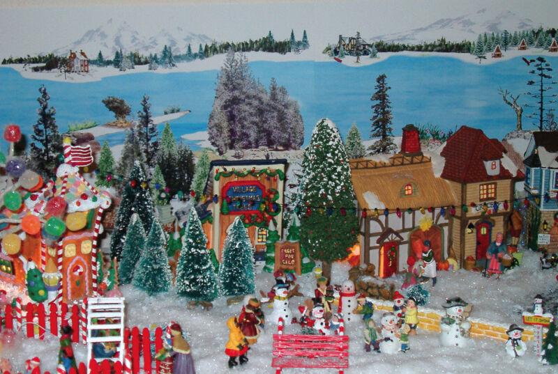 Christmas village backdrop model train snow Dept 56
