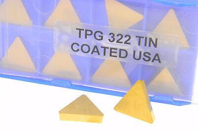 10pcs New Usa Tpg-322 Tin Coated Carbide Inserts