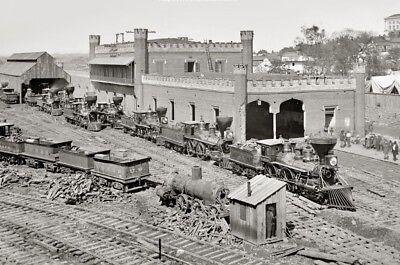 1864 Nashville Civil War Railroad Yard PHOTO, Locomotive Depot, Train Battle