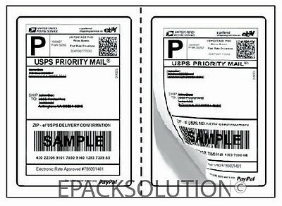1000 ROUND CORNER 5.125 x 7.5 SELF ADHESIVE SHIPPING LABELS 2 PER SHEET USPS EPS