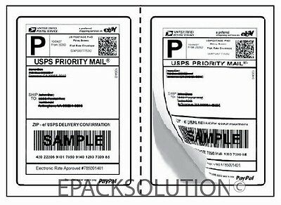 1000 Perforated 5.125 X 7.5 Self Adhesive Shipping Labels 2sheet
