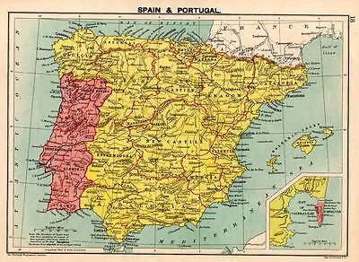 Spain & Portugal c 1898 Original Victorian Colour Map Bartholomew