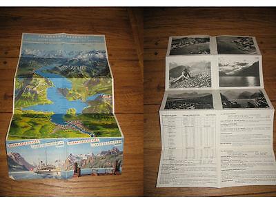Touristenkarte Vierwaldstättersee Dampfschiffahrtsgesellschaft 1948