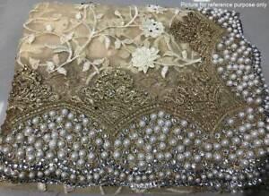 Embroidered Net Saree #MON 001 (Cream) / Sari / Salwar / Bollywood