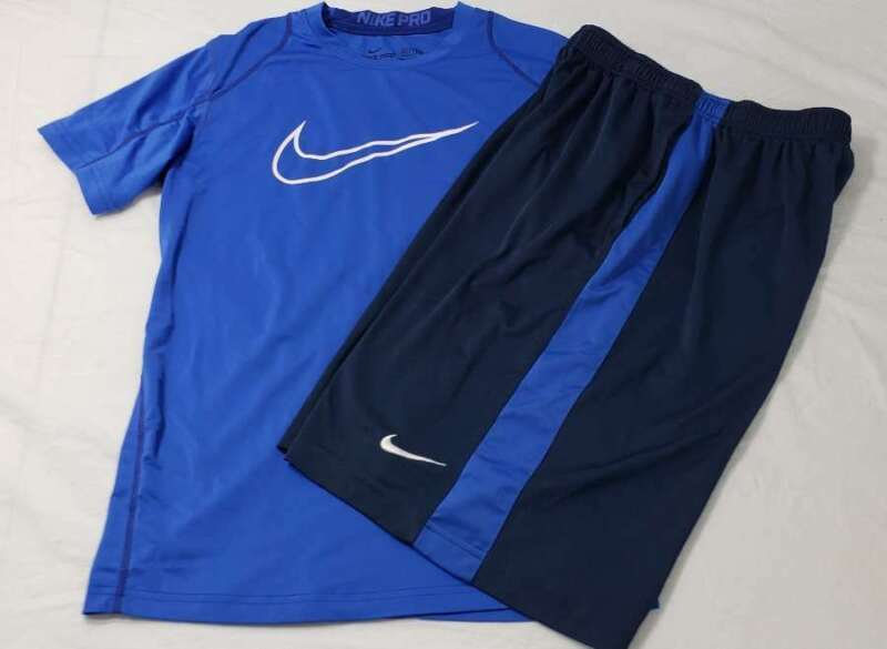 Nike Set Boys Size Large L Pro Fitted Shirt Drifit Shirts Blue White Navy Gray