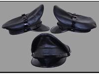 Real Cowhide Leather police,Military,muir,Biker,Gay Cap