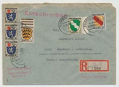 Französische Zone Einschreibenbrief SAARBRÜCKEN 31.12.46 n. NIEBÜLL (31441)