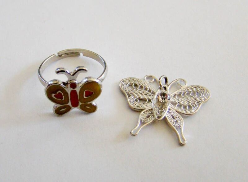 Adorable Butterfly Pendant & Ring Set Costume