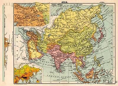 Asia 1898 Original Victorian Colour Map Bartholomew
