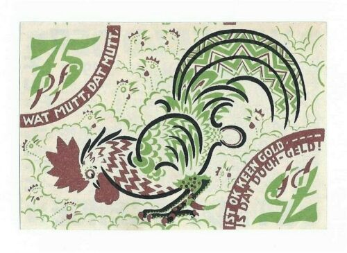 **1921 ITZEHOE Germany- PROPAGANDA ROOSTER! ~ UNC German Notgeld 75 pf Banknote
