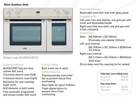 Britannia Sigma Stainless Steel 90cm Built In Oven For Sale (Excellent Condition)