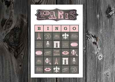 Paris Theme Bridal / Birthday Party Game Bingo Cards on Card Stock 10/20/30ct
